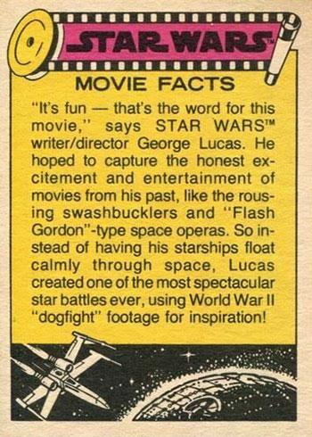 1977 Topps Star Wars UK Card Back