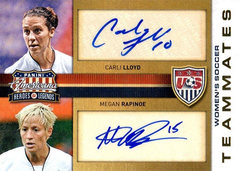 2012 Panini Americana Heroes and Legends Carli Lloyd Megan Rapinoe Autograph