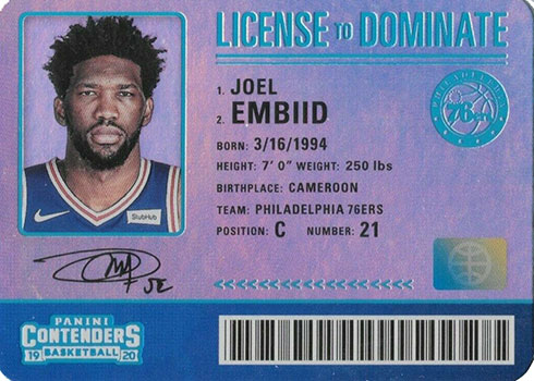 2019-20 Panini Contenders Basketball License to Dominate Joel Embiid