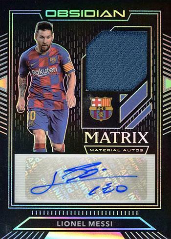 2019-20 Panini Obsidian Soccer Matrix Material Autographs Lionel Messi