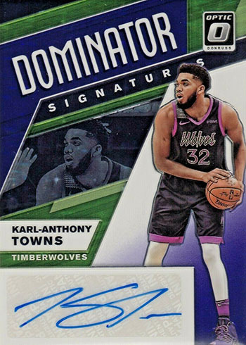 2019-20 Donruss Optic Basketball Dominators Signatures Karl-Anthony Towns Purple Stars