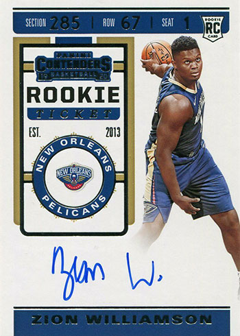 2019-20 Panini Contenders Zion Williamson Rookie Card