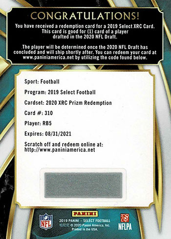 2019 Select Football XRC Prizm Redemption