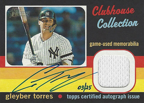 2020 Topps Heritage Baseball Clubhouse Collection Autograph Relics Gleyber Torres