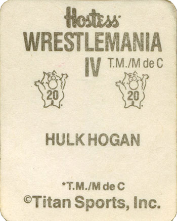 1988 Hostess WrestleMania IV Stickers 20 Hulk Hogan Reverse