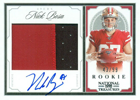 2019 Panini National Treasures Football Crossover Rookie Patch Autographs Nick Bosa
