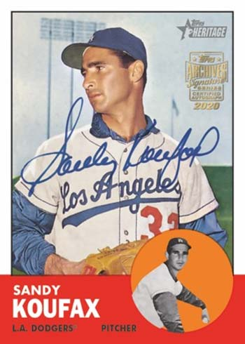 2020 Topps Archives Signature Series Baseball Retired Player Edition Koufax