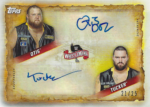 2020 Topps WWE Road to WrestleMania Dual Autographs Heavy Machinery