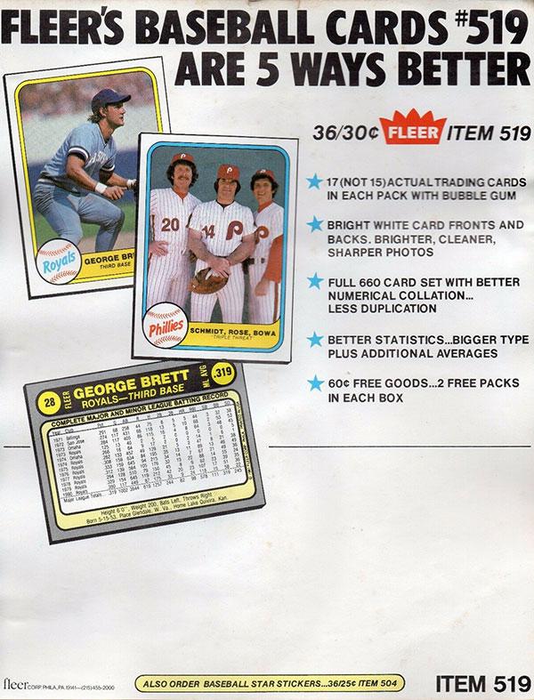 1981 Fleer Baseball Sell Sheet