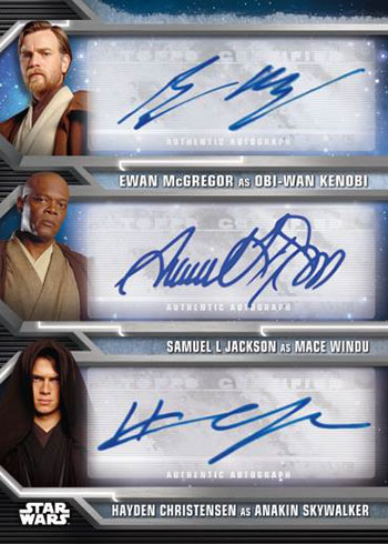 2020 Topps Star Wars Holocron Series Triple Autograph