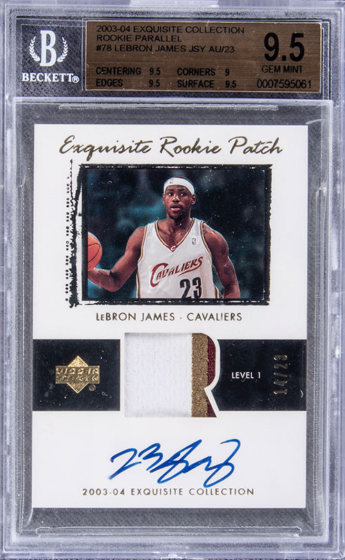 2003-04 Upper Deck Exquisite Rookie Patch Autograph Parallel LeBron James