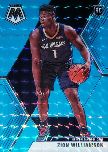 2019-20 Panini Mosaic Basketball Blue Fluorescent Mosaic Zion Williamson