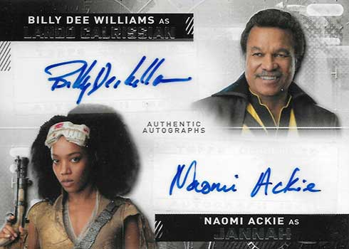 2020 Topps Star Wars Rise of Skywalker Series 2 Dual Autographs Billy Dee Williams Naomi Ackie
