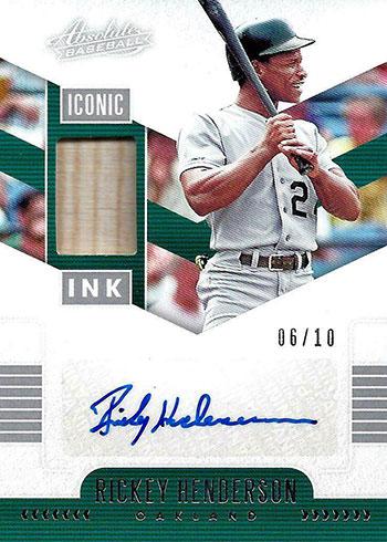 2020 Panini Absolute Baseball Iconic Ink Material Rickey Henderson