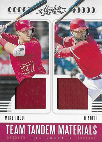 2020 Panini Absolute Baseball Team Tandem Materials Mike Trout Jo Adell
