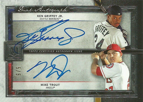 2020 Topps Museum Collection Baseball Dual Autographs Ken Griffey Jr. Mike Trout