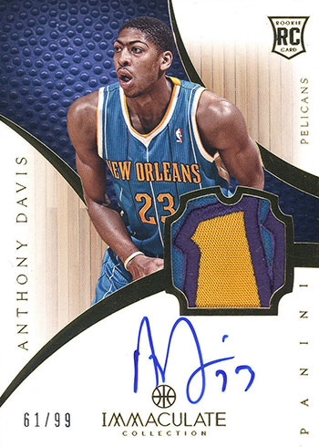 2012-13 Immaculate Anthony Davis RC Auto Patch