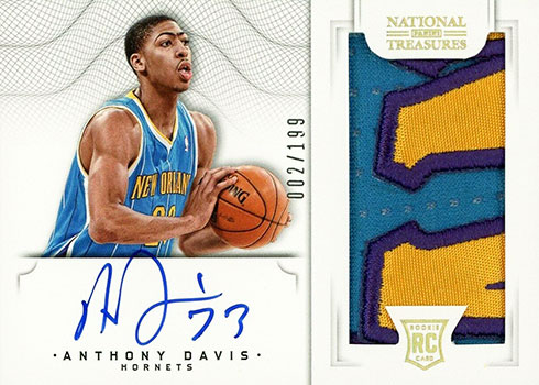 2012-13 Panini National Treasures Anthony Davis Rookie Card Autograph Patch