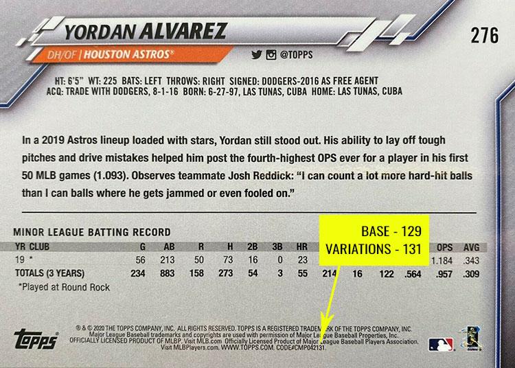 2020 Topps 3D Baseball Variations Codes
