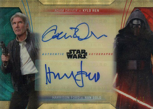 2020 Topps Chrome Perspectives Dual Duel Autographs Harrison Ford Adam Driver