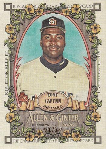2020 Topps Allen & Ginter Baseball Rip Cards Tony Gwynn