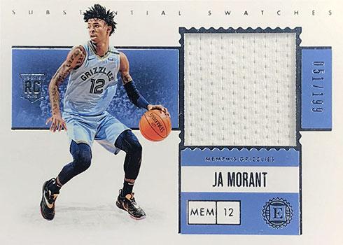 2019-20 Panini Encased Basketball Substantial Swatches Rookies Ja Morant