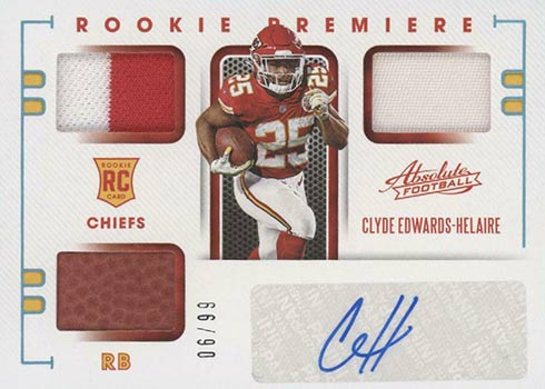 2020 Absolute Football Rookie Premiere Autographs Clyde Edwards-Helaire