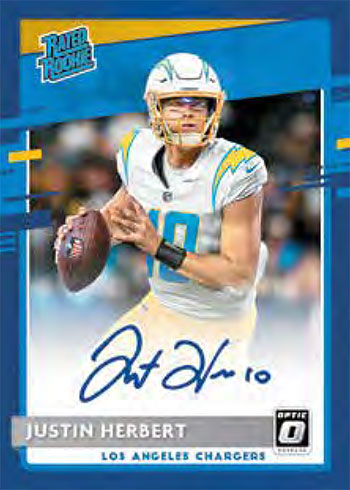 2020 Donruss Optic Football Rated Rookie Autographs Blue