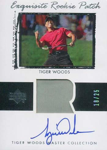 2013 Upper Deck Tiger Woods Master Collection Exquisite Rookie Patch Autograph