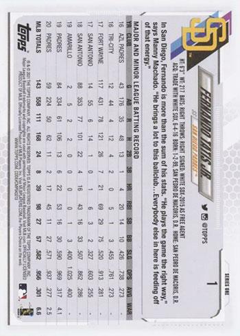 2021 Topps Series 1 Baseball Fernando Tatis Jr. - Reverse