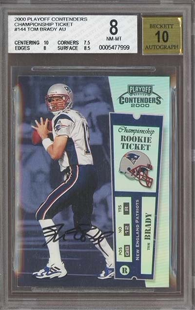 2000 Playoff Contenders Championship Ticket Tom Brady BGS 8
