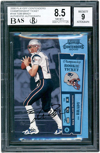 2000 Playoff Contenders Championship Ticket Tom Brady BGS 8.5