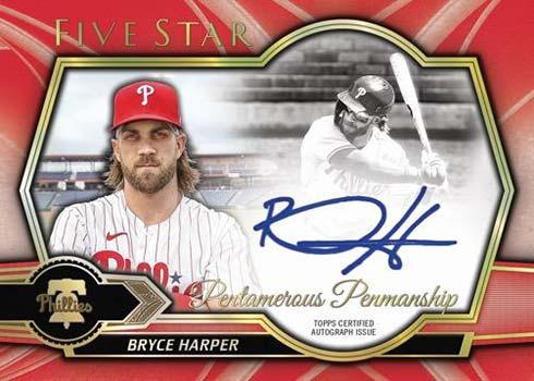 2021 Topps Five Star Baseball Pentamerous Penmanship Bryce Harper