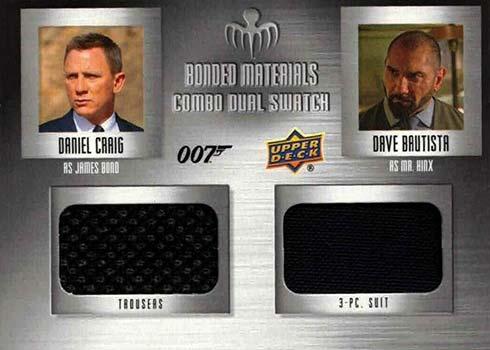2021 Upper Deck James Bond Villains and Henchmen Bonded Materials Combo Dual Swatch Daniel Craig Dave Bautista